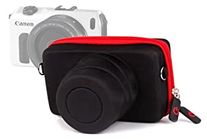 DURAGADGET Executive Black And Red Rigid Protective Case With Elastic Belt Loop Exclusively For Canon EOS M