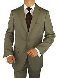 Bianco B Men\'s 3 Piece Suit Side-Vent Jacket Flat Front Pant Extra Trousers Brown (42 Short US)