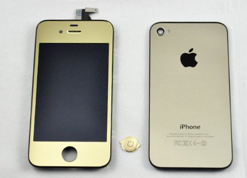 Generic Iphone 4 Color Conversion Kit Full Assembly + Tools With Touch Screen Digitzer Display, Front Lcd, Back Housing, Home Button And Installation Tools For Apple Iphone 4 (At&T) (Iphone 4 (Att Only), Gold (Mirror Kit))