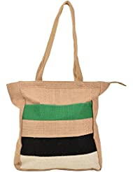 Saran Jute Bags Women's Multi Color Jute Handbag (SJB_19)