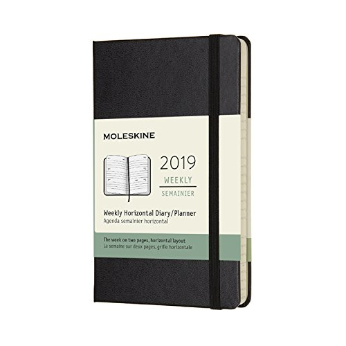 Moleskine Classic Hard Cover 2019 12 Month Weekly Horizontal Planner, Pocket Size (3.5 x 5.5) Black - Weekly Planner for Students & Professionals, for Organizing and Planning [+Peso($53.00 c/100gr)] (US.ME.10.91-3.99-B076BJVQ1T.326235)