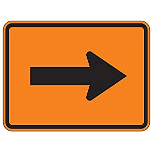 MUTCD W16-5rpo - Arrow (Plaque) Orange Sign, 3M Reflective Sheeting, Highest Gauge Aluminum,Laminated, UV Protected, Made in U.S.A