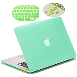 Matte Hard Case for 13-inch MacBook Air, LENTION Clear Plastic Hard Shell for Apple Mac Book Laptop, Matte Finish Case with Rubber Feet, Come with Anti-Dust Port Plugs & Keyboard Cover (Green)