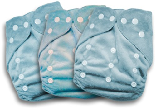 Naughty Baby One Size 6-31 lbs PUL Pocket Diaper with 3 layer microfiber inserts (BLUE 3 PACK MINKEE FABRIC) - 1