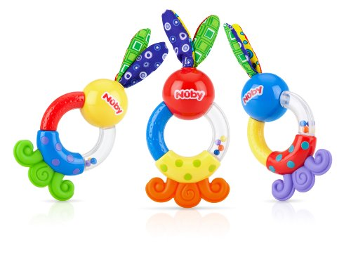 Nuby Teethe and Shake Rattle Teether, 3 Months Plus, (Colors May Vary)