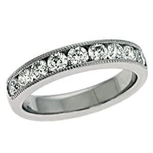 14k White Gold Millgrain Diamond Band Ring - JewelryWeb