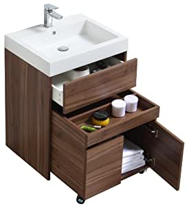 Buy Luxo Marbre Relax V24 W Relax Vanity With Synthetic Marble Sink Walnut Online At Low Prices