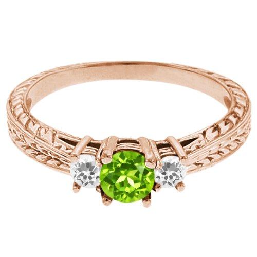 0.56 Ct Round Green Peridot White Sapphire 14K Rose Gold 3-Stone Ring