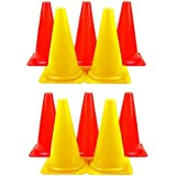 KS Unisex Plastic Soft Vinyl Cones, 12 Inches, Red And Yellow (Pack Of 10)