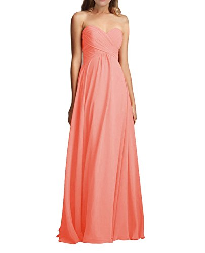 Yougao Women's Sweetheart Chiffon Long Evening Dresses Bridesmaid Prom Gowns US 6 Peach (Peach Color Bridesmaid Dresses compare prices)