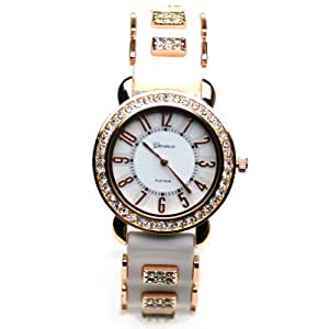 Geneva Crystal Women's Watches Fashion Silicone Ladies Watches with Rhinestone Pl178-y