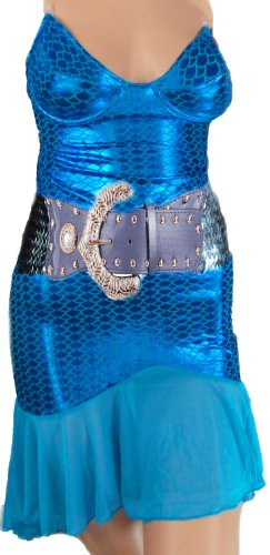 erdbeerloft - Damen Kostüm, Meerjungfrau, Blau Metallic, XS-M