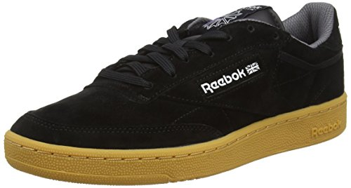 Reebok Club C 85 Indoor, Scarpe da Ginnastica Basse Uomo, Nero (Black/Wild Blue/Ultima Purple/White-Gum), 42 EU
