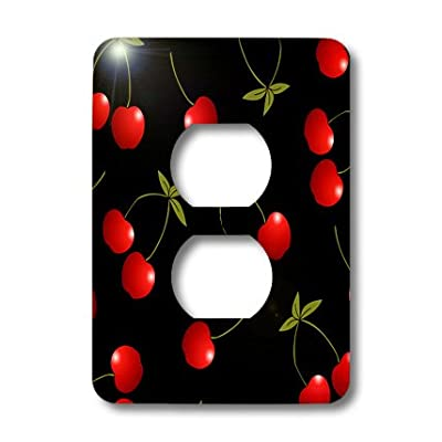 3dRose lsp_24730_6 Cherry Print Juicy Red Cherries On Black 2 Plug Outlet Cover