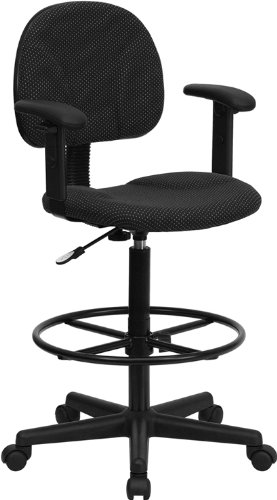 Flash Furniture Black Patterned Fabric Multi-Functional Ergonomic Drafting Stool with Arms