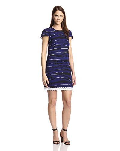 kensie Women's Wave Pattern Short Sleeve Dress