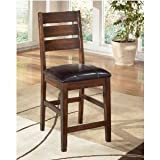 Ashley Furniture Signature Design Larchmont Upholstered Barstool, 19.38 by 22.25-Inch, Burnished Dark Brown, Set of 2