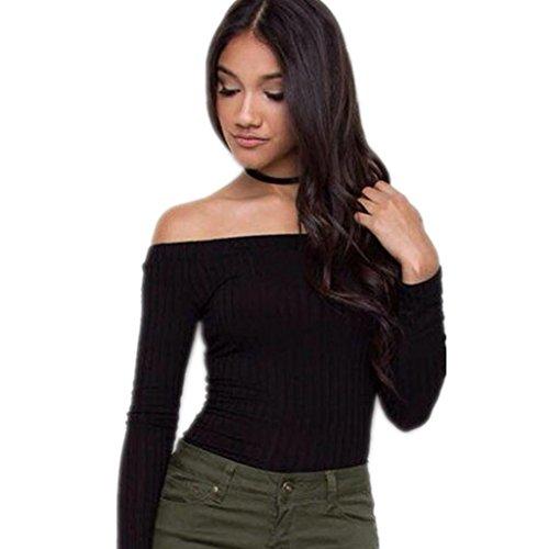 [ZYQYJGF T-Shirt Horizontal Neck Bodycon Club Night Party Womens Wish Slinky Long Sleeve Tops Black .] (Main Street Dance Costumes)