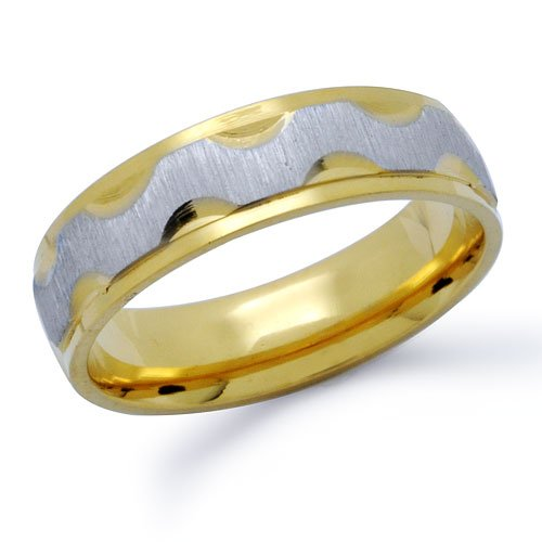 Stainless Steel Two Tone Wedding Band Ring Size 9