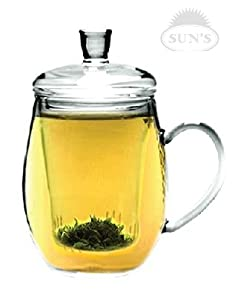 Sun's Tea (TM) 12oz Personal All Glass Made Tea Infuser & Mug (Teapot)