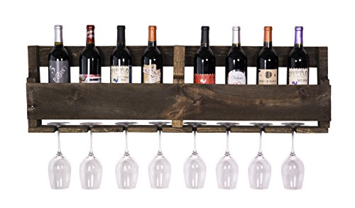DAKODA LOVE - The Olivia Wine Rack, USA Handmade Reclaimed Wood, Wall Mounted, 8 Bottle 8 Long Stem Glass Holder (Dark Walnut) (Wall Decor Wine Rack compare prices)