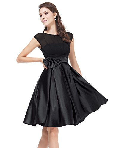 HE06113BK06, Black, 4US, Ever Pretty Satin Women Cocktail Dress Party 06113