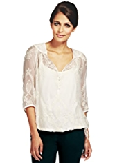 Per Una Pure Silk Floral Embroidered Blouse with Camisole