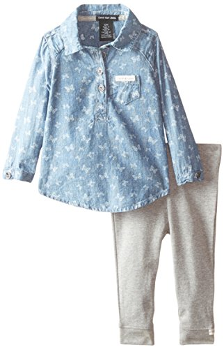 Calvin Klein Baby Girls' Chambray Printed Tunic with Gray Leggings, Multi, 18 Months