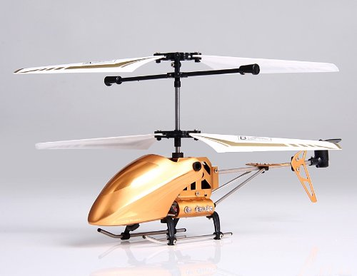 3-Channel Alloy RC Helicopter with USB Cable (Golden)