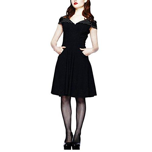 Vestito rockabilly a pois neri - Lunghezza alle ginocchia - Stile anni 50 - Pin up girl rockabella anni 50 - Di Hell Bunny - L