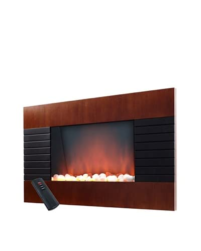 Even Glow Mahogany Wood Trim Electric Fireplace Heater With, Black, 22Wx4.3Wx35.4L
