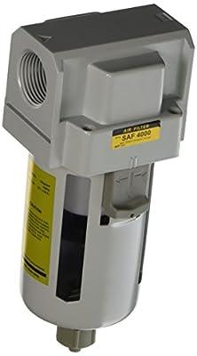 "PneumaticPlus SAF4000M-N06B Compressed Air Particulate Filter, 3/4"" NPT, Manual Drain, Poly Bowl, 10 ?m"
