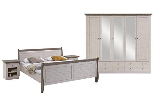 7317000269001F Schlafzimmer Monaco mit Bett 180 x 200 cm, kiefer massiv, weiß lasiert / stone abgesetzt