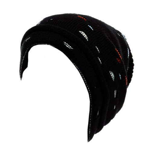 Black Cable Knit Oversize Beanie Hat