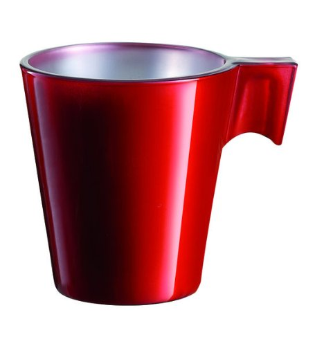 6 Espresso Cappuccino Tassen Cup Gl?ser Glas Nespresso Dolce Gusto Red Rot 8 cl