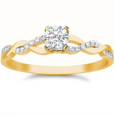0.58 Carat Wedding ring for sale with Round cut Diamond on 18K Yellow gold