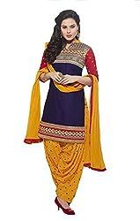 Metroz Blue Cottton Embroidered Straight Salwar Kameez with Dupatta