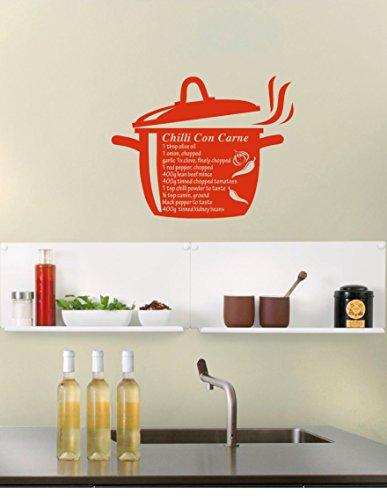 Chili con carne Recette de cuisine Nourriture Maison Art Sticker mural citation, Vinyle, Rouge, 570mm W x 580mm H