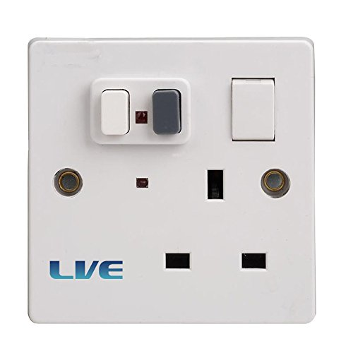 RCD Socket Single Switched Plastic 30mA RCD Protection Latching RSPS113A/030