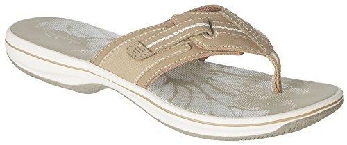 Clarks Womens Brinkley Jazz Comfort Flip Flops 9 Greystone (Clarks Sea Breeze Flip Flops compare prices)