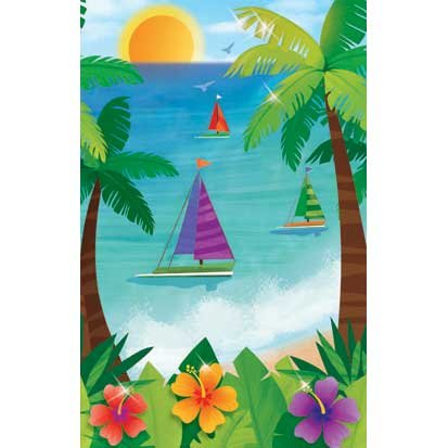 Ocean View 54in x 102in Plastic Tablecover - 1