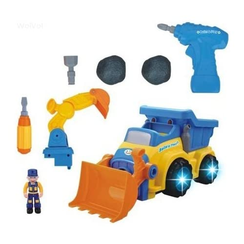 WolVol 3-in-1 Construction Bulldozer Dump Excavator Take-A-Part Truck Toy with Drill and Tools Lights and Music (Battery Operated) Bump and Go Action will go by its own and change directions on contact