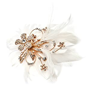 USABride Gold Rhinestone Feather Clip & Brooch 2036