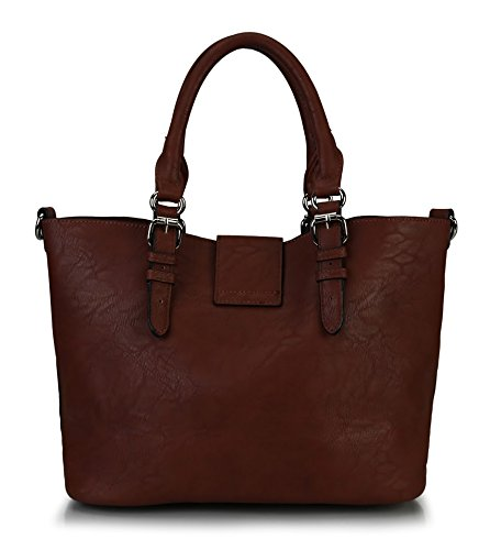 Rimen & Co. Faux Fashion PU Leather Large Hobo Tote Shoulder Handbag Diaper bag Women's Purse Bag in Bag 85797 Dark Brown