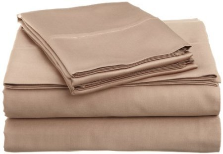 Wrinkle-Free Hotel Collection Solid Beige Twin Extra Long Microfiber Sheet Set, Deep Pocket, 95Gsm ,100% Microfiber Twin Xl front-1029714
