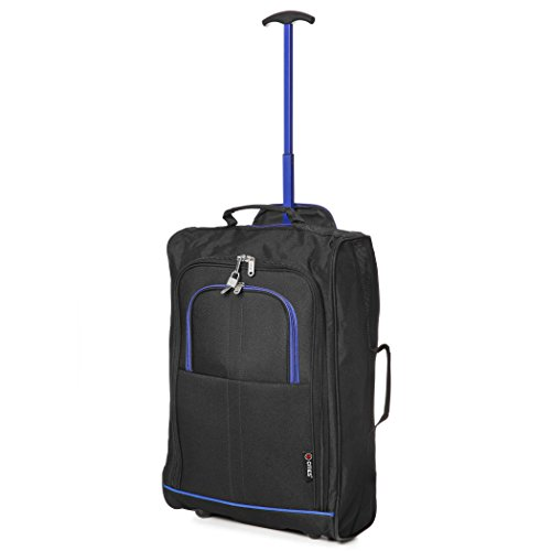 """21""""/55cm 5 Cities Black Carry On Lightweight Cabin Approved Trolley Bag Hand Luggage (Black/Blue)"""