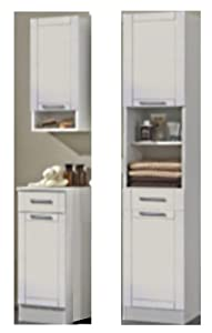 Vareal high gloss white bathroom cabinet set tall unit for White gloss tall kitchen units