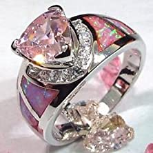 buy Pixel Jewelry 1985 - Size6 Pink Sapphire & Fire Opal Engagement Wedding Ring 925 Sterling Silver Jewelry