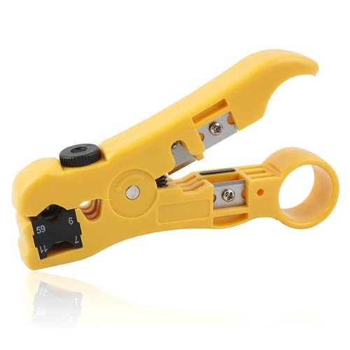 AODE Wire Stripper Cutter for Round / Flat UTP Cat5 Cat6 Coax Coaxial Cable Stripping Universal Tool (Data Shark compare prices)