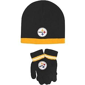 Reebok Pittsburgh Steelers Cuffless Knit Hat & Glove Set from SteelerMania